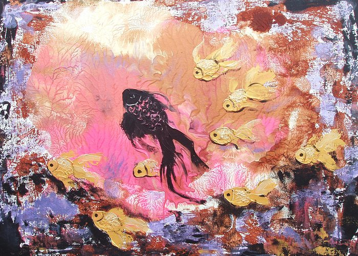 Fish Greeting Card featuring the painting 8 Gold Fish by Gina De Gorna