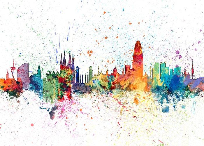 2dad2312e Barcelona Greeting Card featuring the digital art Barcelona Spain Skyline  by Michael Tompsett