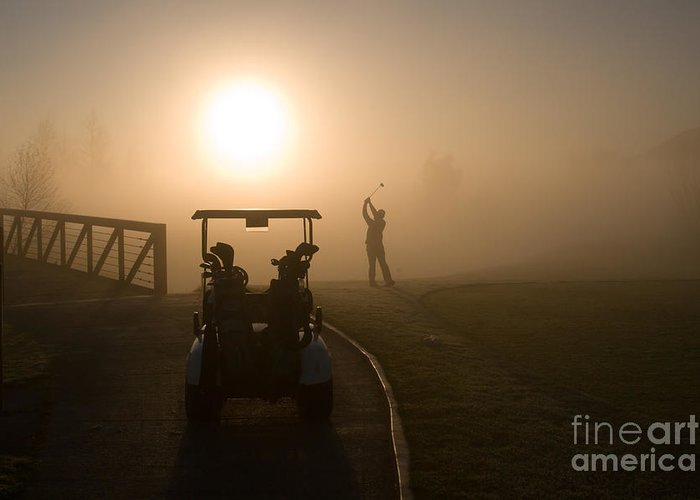 Golf Greeting Card featuring the photograph California Golf Course Sunrise Morning Golfers by ELITE IMAGE photography By Chad McDermott