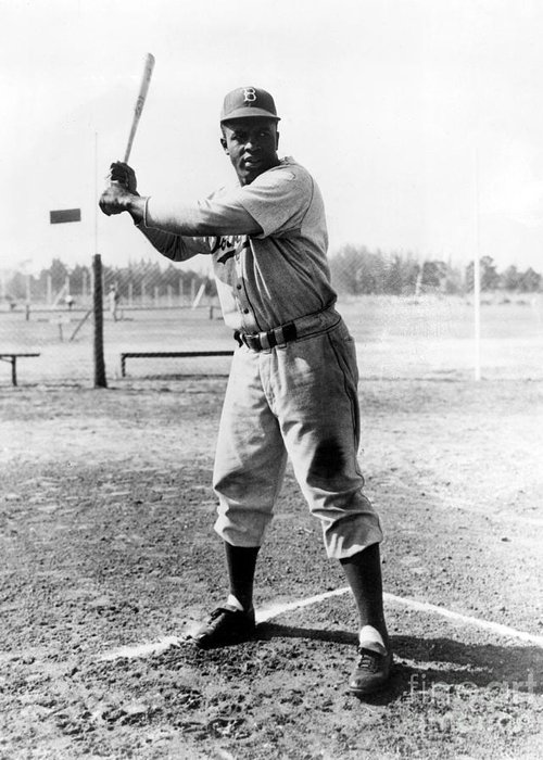 1950s Greeting Card featuring the photograph Jackie Robinson (1919-1972) by Granger