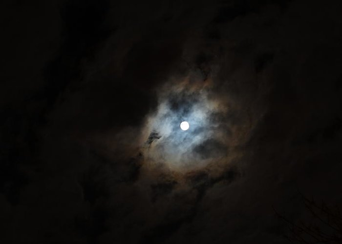 Moon Greeting Card featuring the photograph Moon And The Clouds by Explorer Lenses Photography