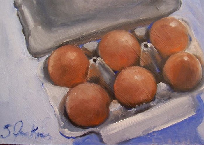 Still Life Greeting Card featuring the painting 6 Pack by Susan Jenkins