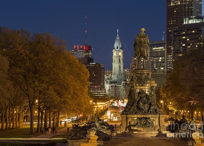 Ben Franklin Parkway Greeting Card featuring the photograph Philadelphia Skyline by John Greim