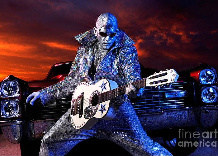 Silver Elvis Greeting Card featuring the photograph Silver Elvis by Oleksiy Maksymenko