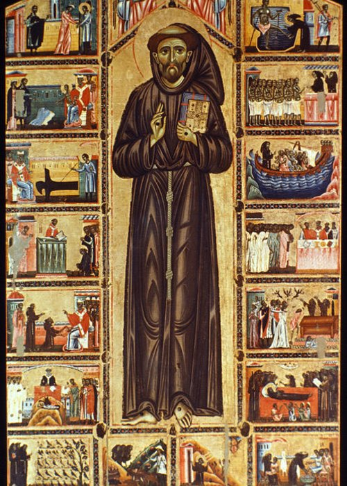 12th Century Greeting Card featuring the painting St Francis Of Assisi by Granger