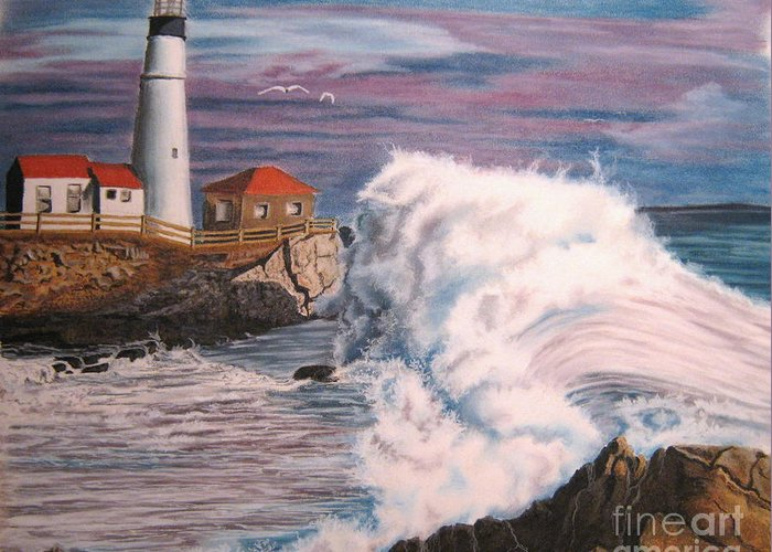 Light House Greeting Card featuring the pastel Untitled by John Huntsman