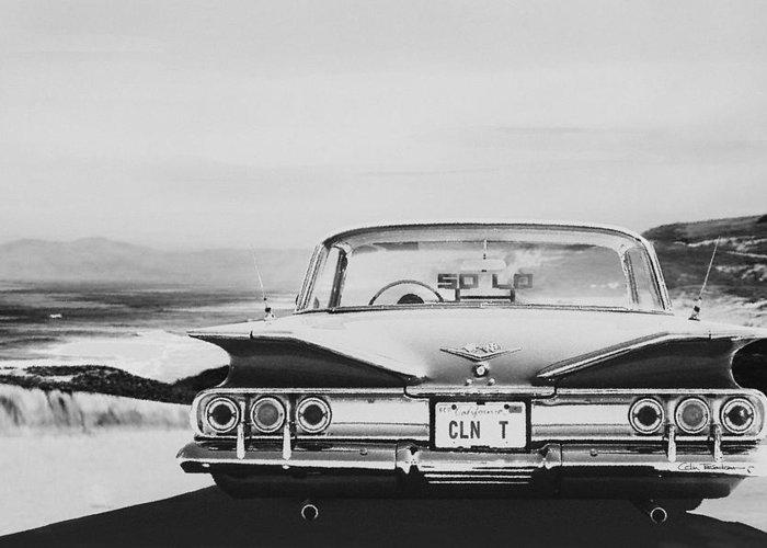Lowrider Greeting Card featuring the digital art 60 Impala Lowrider by Colin Tresadern