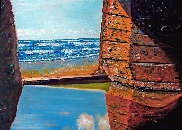 Seascape Greeting Card featuring the painting 60 Years After ...- 2000 by Aymeric NOA