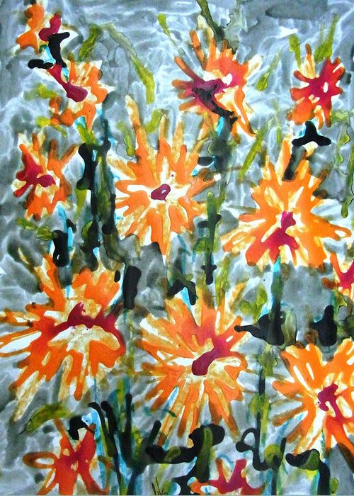 Flowers Greeting Card featuring the painting Divine Flowers by Baljit Chadha