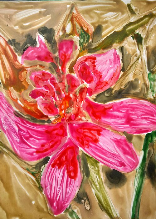 Abstract Flowers Pink Nature Greeting Card featuring the painting Divine Flowers by Baljit Chadha