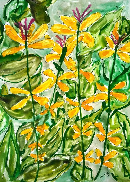 Abstract Flowers Nature Yellow Greeting Card featuring the painting Divine Flowers by Baljit Chadha