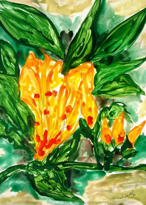 Abstract Flowers Yellow Nature Greeting Card featuring the painting Divine Flowers by Baljit Chadha
