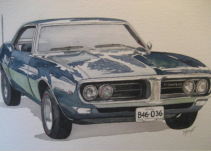 Muscle Car Greeting Card featuring the painting 68 Firebird Sprint by Victoria Heryet