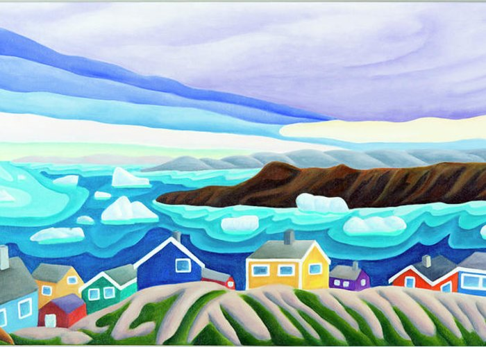 Arctic Landscape. Greenland Greeting Card featuring the painting 69 Degrees 13 Minutes North by Lynn Soehner