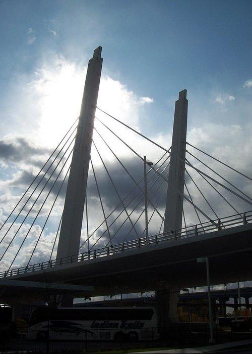 Bridge Greeting Card featuring the photograph 6th Street Bridge Backlit by Anita Burgermeister