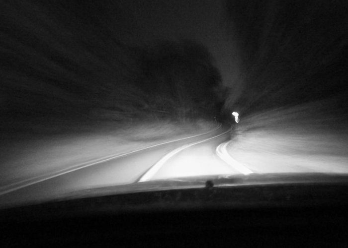 Don't Drop The Crystal Ball Greeting Card featuring the photograph 7-19-16--3467 Black And White, The Drive Home, Don't Drop The Crystal Ball by Vicki Hall