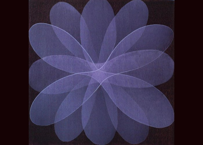 Abstract Greeting Card featuring the painting Abstract flower by Jitka Anlaufova