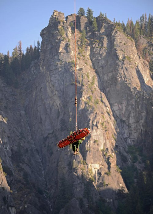 Yosemite Greeting Card featuring the photograph Climber Rescue Operation In Yosemite by Nano Calvo