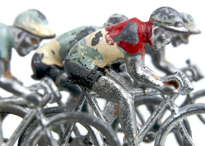 White Background Greeting Card featuring the photograph Cyclists by Bernard Jaubert