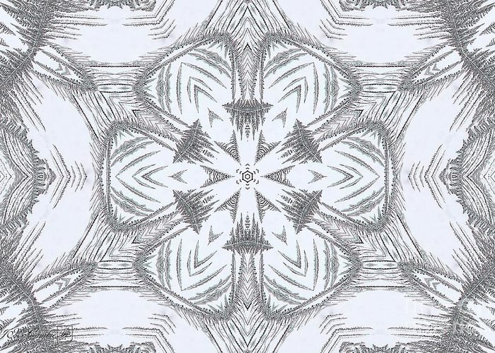 Mccombie Greeting Card featuring the digital art Fern Frost Mandala by J McCombie