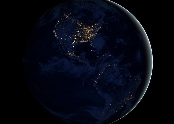 Square Image Greeting Card featuring the photograph Full Earth At Night Showing City Lights by Stocktrek Images