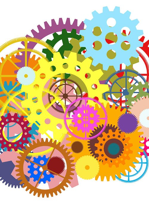 Art Greeting Card featuring the painting Gears Wheels Design by Setsiri Silapasuwanchai