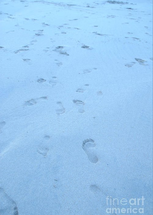 Footprints In The Sand By Jenny Potter Greeting Card featuring the photograph Greeting Card by Jenny Potter