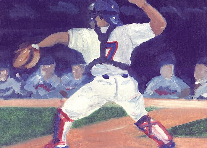 Catchers Greeting Card featuring the painting 7 Guns by Jorge Delara