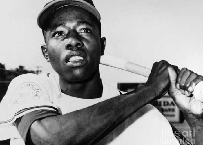 1953 Greeting Card featuring the photograph Hank Aaron (1934- ) by Granger