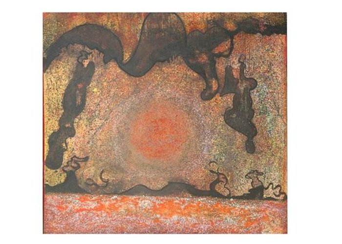 Abstract Greeting Card featuring the painting Hymn To Eternity by Victor Vijay Kumar
