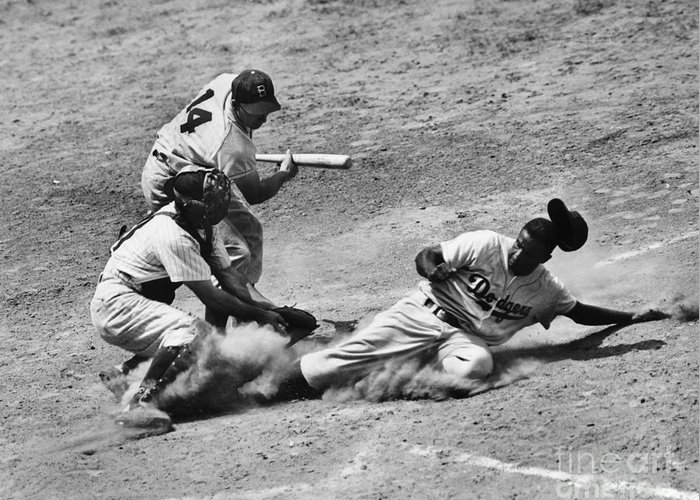 1950 Greeting Card featuring the photograph Jackie Robinson (1919-1972) by Granger