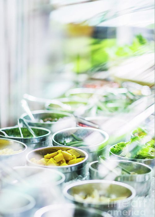 Buffet Greeting Card featuring the photograph Salad Bar Buffet Fresh Mixed Vegetables Display by Jacek Malipan