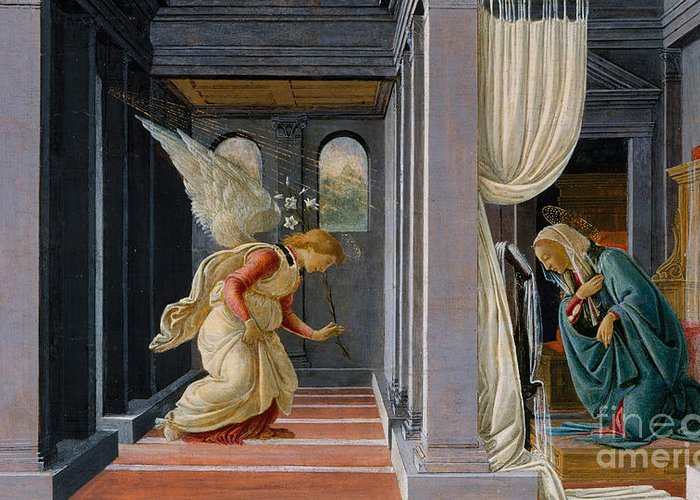 The Annunciation Greeting Card featuring the painting The Annunciation by Sandro Botticelli