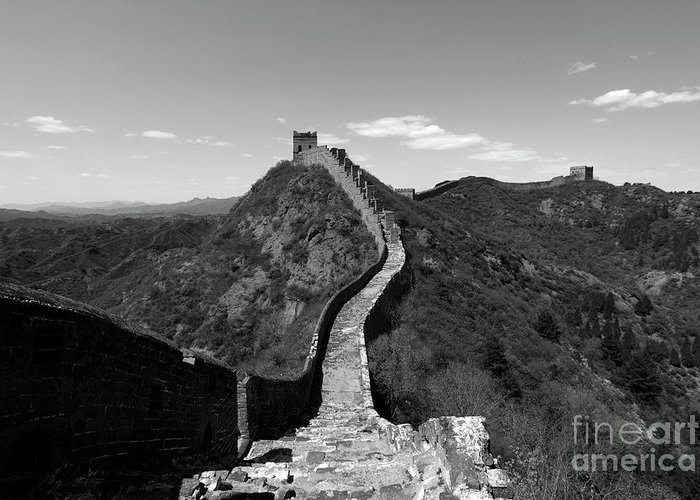 Jinshanling Village Greeting Card featuring the photograph The Great Wall Of China Near Jinshanling Village, Beijing by Dave Porter