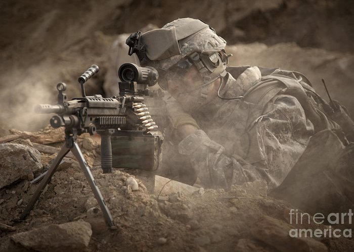 Special Operations Forces Greeting Card featuring the photograph U.s. Army Ranger In Afghanistan Combat by Tom Weber