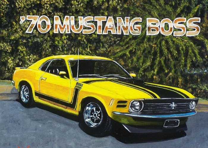 Hotrod Greeting Card featuring the painting 70 Mustang Boss by Charles Vaughn