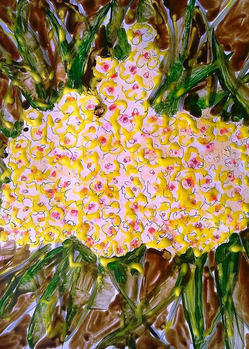 Abstract Flwoers Greeting Card featuring the painting Divine Flowers by Baljit Chadha