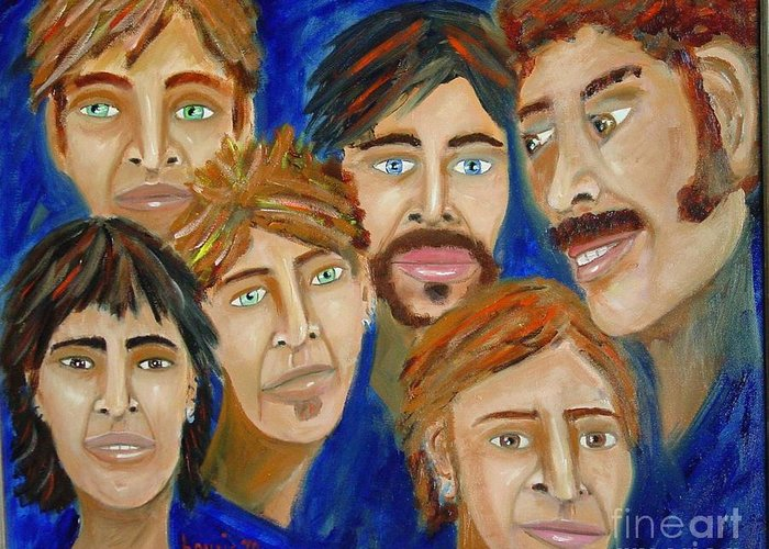 Portrait Greeting Card featuring the painting 70s Band Reunion by Laurie Morgan
