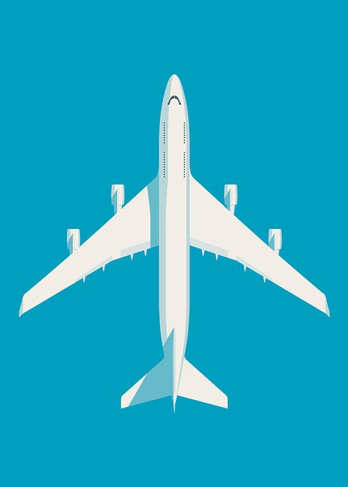Airplane Greeting Card featuring the digital art 747 Jumbo Jet Airliner Aircraft - Cyan by Ivan Krpan