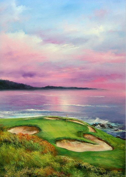 Golf Greeting Card featuring the painting 7th At Pebble by Sally Seago