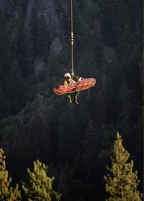Yosemite Greeting Card featuring the photograph Climber Rescue Operation In Yosemite by Nano Calvo
