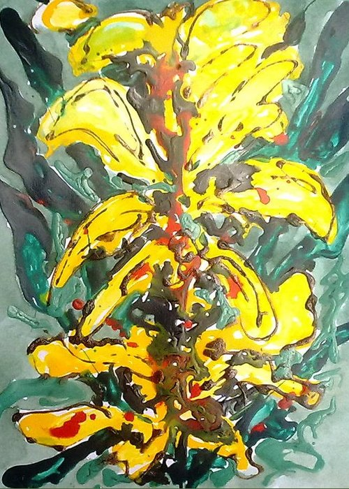 Abstract Greeting Card featuring the painting Digital Flower Painting by Baljit Chadha