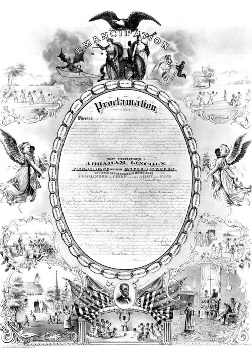 1868 Greeting Card featuring the photograph Emancipation Proclamation by Granger