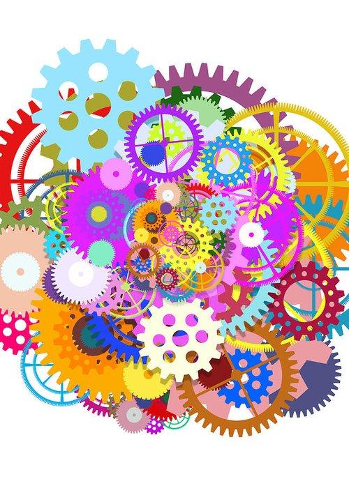 Art Greeting Card featuring the painting Gears Wheels Design by Setsiri Silapasuwanchai