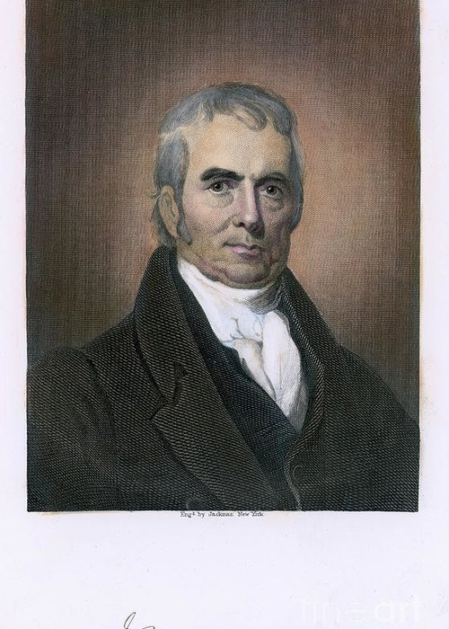 18th Century Greeting Card featuring the photograph John Marshall (1755-1835) by Granger