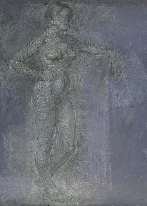 Beauty Greeting Card featuring the painting Model by Robert Nizamov