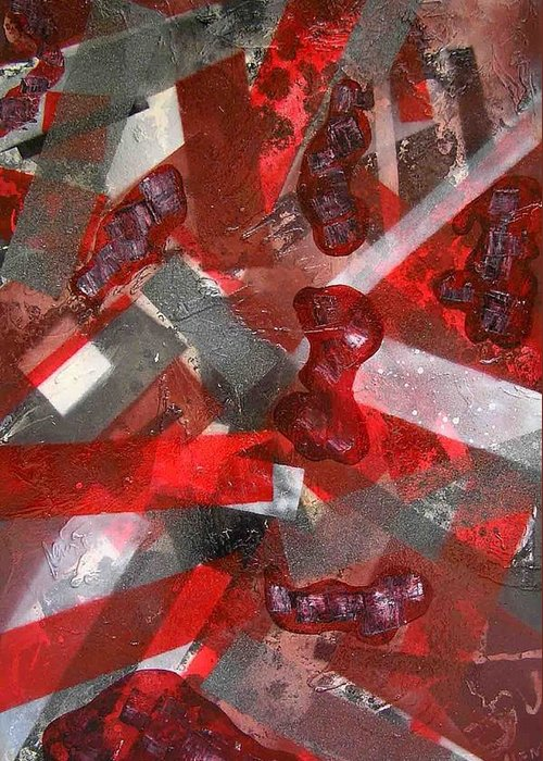 Abstract Greeting Card featuring the painting 8 Red Objects by Evguenia Men