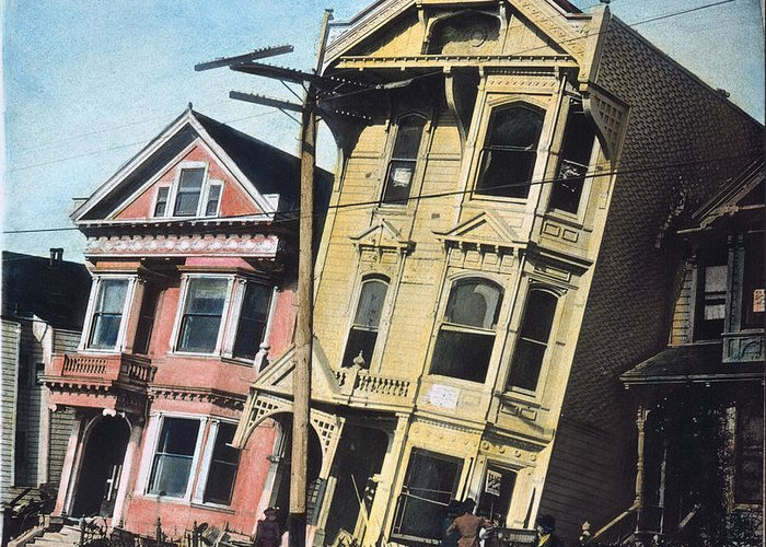 1906 Greeting Card featuring the photograph San Francisco Earthquake by Granger