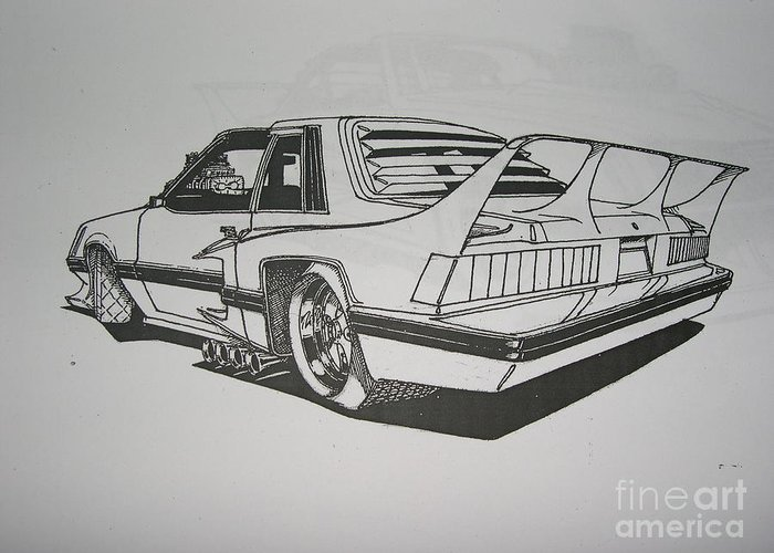 Car Greeting Card featuring the drawing 80s Mustang - Rear View by Jeff Schwerdtfeger