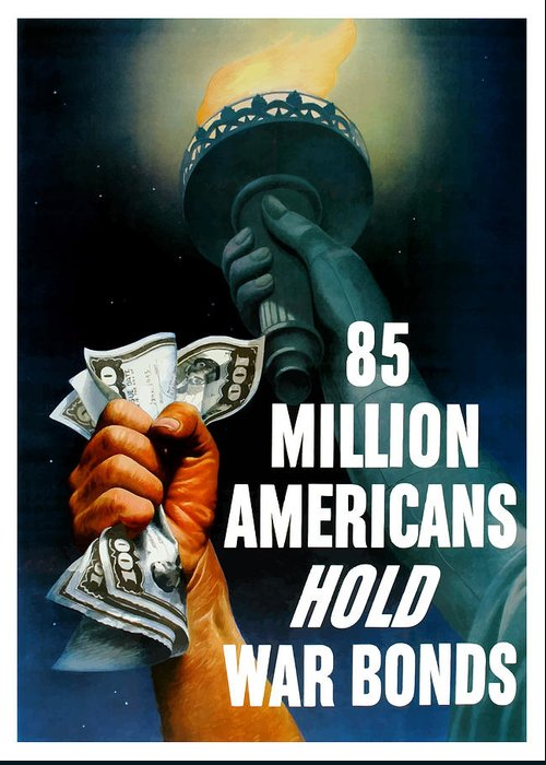 Statue Of Liberty Greeting Card featuring the painting 85 Million Americans Hold War Bonds by War Is Hell Store